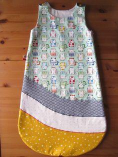 SUR COMMANDE Gigoteuse / Turbulette été légère ou hiver réalisée en coton vert menthe japonais (cadeau naissance) chat