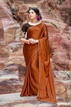 ee9523f691a03 Enriching Coffee Satin Silk Plain satin silk saree with emroidered Blouse  Saree