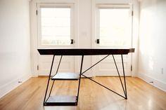 Modern Live Edge Claro Walnut Slab Desk —