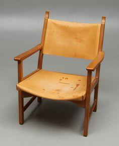 Carl Malmsten & Yngve Ekström; Oak and Leather 'Caryngo' Armchair for Swedese, 1950s.