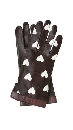 Guantes de piel de becerro con estampado de corazones, de Burberry Prorsum