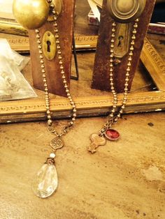 Ball Chain Necklaces with Vintage Chandelier Crystal and Vintage Key and Soldered Crystal Charm