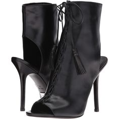 Michael Kors Bolton (Black/Palladium Smooth Calf) High Heels (€195) ❤ liked on Polyvore featuring shoes, boots, ankle booties, ankle boots, black, black ankle booties, black high heel booties, high heel ankle boots, high heel booties and open toe lace up bootie