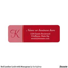 Red Leather Look with Monogram Label