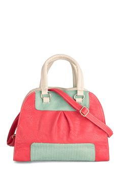 Gotta Handle It to You Bag by Nooworks - Pink, Green, Tan / Cream, Colorblocking, Color Block