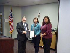 D47 Board Pres Jeff Mason and Supt Dr. Kathy Hinz recognized @BernotasVikings teacher Jean Bowman for @educationweek