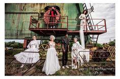 In their newest photo series popular Hungarian singers, Bíborka Bocskor, Sári Herrer, Odett Polgár and Barbara Schoblocher transformed into original Szputnyik brides. Photo Series, Life Magazine, Singers, Brides, Campaign, Happiness, Sari, Bohemian, Urban