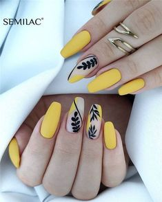 40 The Most Trendy Fall Nail Designs You'll Love - Page 5 of 13 Fall Nail Designs - Looking for Diy fall nails idea too? We have gathered up 40 fall nail design ideas. You are going to absolutely love these Fall Nail Designs and most of them are so simple Manicure Nail Designs, French Manicure Nails, Nails Polish, French Nails, Manicures, Cute Acrylic Nails, Cute Nails, My Nails, Acrylic Nails Yellow