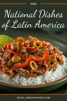 """Cuba actually has more than one national dish, but the most recognized dish is none other than the ropa vieja. Translating as """"old clothes"""" in Spanish, the dish is made with stewed beef, often shredded or pulled, black beans, white rice, fried yuca, and plantains.#latinfood #cubanfood #ropavieja Tapas Recipes, Cuban Recipes, Easy Dinner Recipes, Crockpot Recipes, Tapas Ideas, Dinner Ideas, Spanish Dishes, Spanish Desserts, Spanish Tapas"""