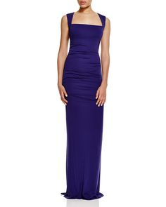Nicole Miller Cutout Back Ruched Gown