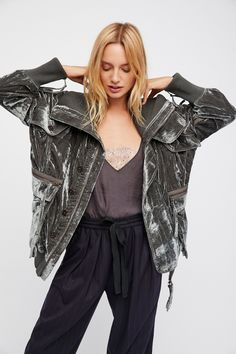 Field Bomber Jacket   Luxe velvet bomber jacket featuring double hip pockets with zip and button closures and 2 bust pockets.   * Ribbed collar and hem * Oversized slouchy fit * Font zip closure with button closures  * Zip detailing on the sleeves  * Lined