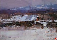Highland by Tibor Nagy Oil ~ x Contemporary Landscape, Contemporary Paintings, Landscape Art, Landscape Paintings, Winter Landscape, Oil Paintings, Painting Snow, Painting & Drawing, Painting Styles