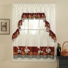 "SAVORY CHEFS BISTRO 3 PC  KITCHEN CURTAINS TIER AND RUFFLED VALANCE SET 24"" LONG #CHF"