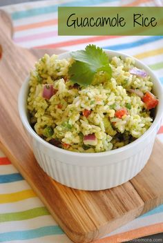Guacamole Rice...all the delicious creamy flavor of guacamole combined with cooked rice, quinoa or couscous makes a great side dish. (V)