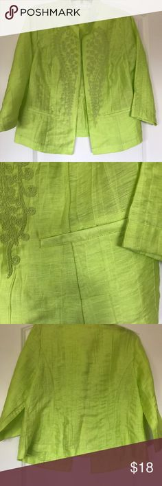 Vibrant Chico's Jacket Lovely lime cropped jacket. Worn once! Chico's Jackets & Coats