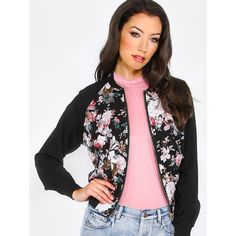 Sheer Floral Bomber Jacket FLORAL ($24) ❤ liked on Polyvore featuring outerwear, jackets, color, bomber jacket, blouson jacket, floral jacket, metallic bomber jacket and long sleeve jacket