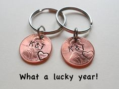 2 Personalized Penny Keychains Anniversary Gift, great for traditional 7 year anniversary gift, copper gift