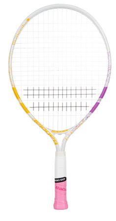 """NEW Babolat B-Fly Junior 21"""" Tennis Racquet.  This 21"""" racquet is ideal for young players between 4-6 years of age. The Butterfly design with pink, yellow and white. Good for the small junior just starting out.  $35.00 Butterfly Design, Tennis Racket, Pink Yellow, Age, Bowtie Pattern"""