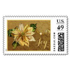 Poinsettia Gold Christmas Stamp
