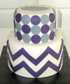 Purple & Grey Polka Dot & Chevron Baby Shower Cake!  Peace.Love.Sugar https://www.facebook.com/pages/PeaceLoveSugar/107504169339809