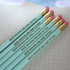 good minions are hard to find 6 six pack pencils in green. Jotting in your diary of disappointments has never been so fun.