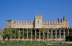 SuperStock - Castle of family Scaliger with lemon orchard called Limonaia in Torri del Benaco at Lake of Garda Italy