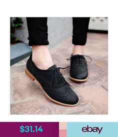 Flats Brogue Women Lace Up Wing Tip Oxford College Style Flat Fashion Shoes Big Size #ebay #Fashion