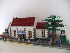 Lego Train Station, Lego Trains, Lego Architecture, Lego Building, Lego City, Bricks, Buildings, Street View, Painting