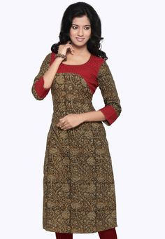 Red and Brown Cotton Readymade Kurta