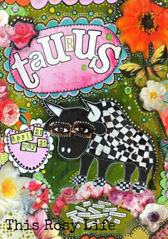 Collage art, Taurus art print, Taurus art, astrology art, colourful art. by ThisRosyLife on Etsy