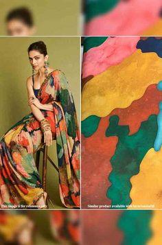 Multicolor Print Georgette ... Chanderi Silk Saree, Organza Saree, Georgette Sarees, Trendy Sarees, Stylish Sarees, Embroidery On Kurtis, Lehenga Online, Work Sarees, Celebrity Look