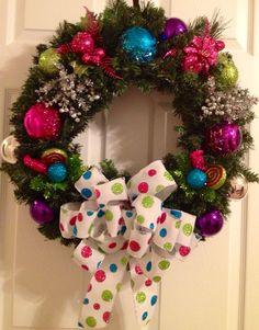 Colorful festive Christmas wreath  by Enywear on Etsy