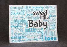Baby Shower Greeting Card, New Baby Card, Modern Typography