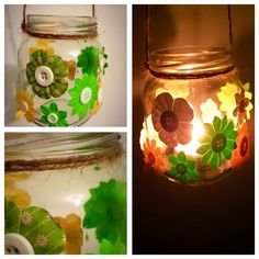 Green and yellow flowery hanging candle holder 😊 #hickoryjars