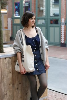 Cosy oversized cardigan and buttoned up skirt