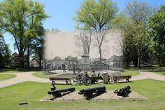 Het Victoriapark in Alkmaar rond 1920 en in 2013. Het beeld stond tot 1952 echter zo'n 30 meter meer naar rechts.