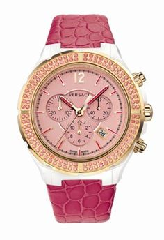 Versace Ladies DV One Cruise Collection Pink Dial Chronograph
