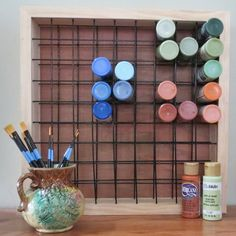 Paint Storage Rack Holds 81 Craft Paint Bottles -- for sale on Etsy, but I think I could manage to make a functional copy Craft Paint Storage, Art Storage, Craft Organization, Storage Rack, Storage Ideas, Diy Nail Polish Rack, Nail Rack, Bottle Painting, Cool Diy Projects