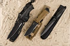 Gerber knives in the sand