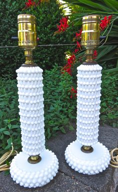 Adorable pair of Fenton-Like hobnail milk glass candlestick lamps (no markings). Description from etsy.com. I searched for this on bing.com/images