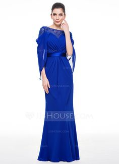 Trumpet/Mermaid Scoop Neck Floor-Length Chiffon Charmeuse Evening Dress With Lace (017058381)