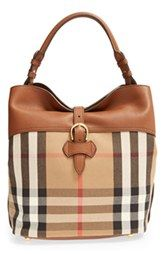 Burberry 'Medium Sycamore' Check Derby Leather Hobo