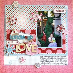 Pink Paislee Winter Wonderland layout (and FREE Letter to Santa and project sheet downloads)