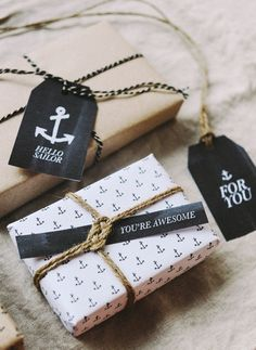 Free printable anchor wrapping paper & gift tags by Hey Look