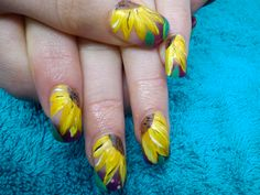 Our very own Sunflower design that was featured in Scratch and Nail File - top nail tech magazines.
