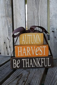 Primitive Autumn harvest be thankful STACKER Wood block set