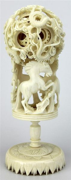 Ivory Carved Dragon Puzzle Ball carved with three horses with a four dragon ball. Dragon Dreaming, Oriental Decor, Bone Carving, Creative Things, Ivoire, Chinese Art, Wood Turning, Pin Up Girls, Decorative Items