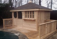 Custom cedar bar unit with screen room by Flamborough Patio Bar Unit, Deck, Patio, Outdoor Decor, Room, Furniture, Home Decor, Bedroom, Decoration Home