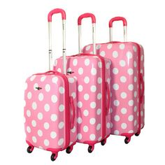 Rockland Designer Pink Polka Dot 3-piece Lightweight Hardside Spinner Luggage Set