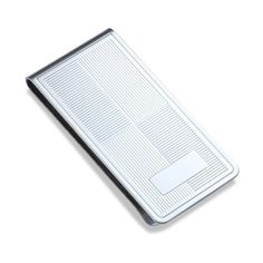 Silver Chrome Plated Ribbed Pattern Money Clip - Create A Favor